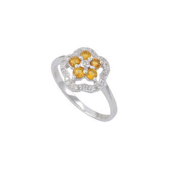 Sterling Silver .05ct Genuine Diamond Ring Flower with Citrine
