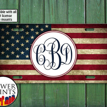 American Flag USA Cursive Initials Custom Monogram Cute Tumblr Personalized For Front License Plate Car Tag One Size Fits All Vehicle Custom