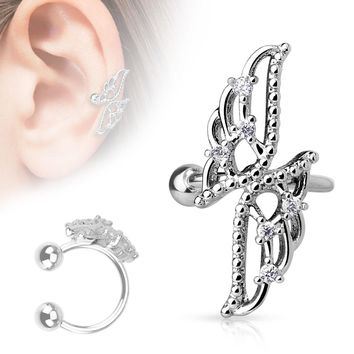 Crossed Wings with CZs Non-Piercing Ear Cuff   Overstock.com Shopping - The Best Deals on Cubic Zirconia Earrings