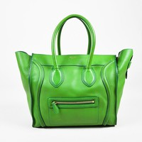 "Celine Green Leather Zip ""Mini Luggage Tote"" Bag"