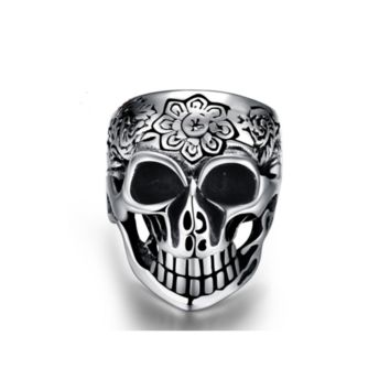 316L Stainless Stell Silver Men Women Skull Ring  Rock