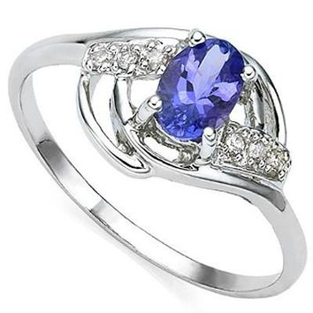 Tanzanite and Diamond Sterling Silver Ring