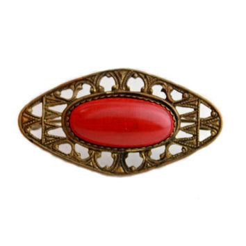 Antique Red Faux Stone Brooch