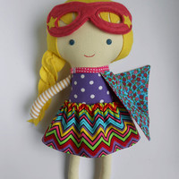 Doll superhero with cape and mask as birthday gift for toddlers kids super hero rag doll toy chevron skirt, can be personalized