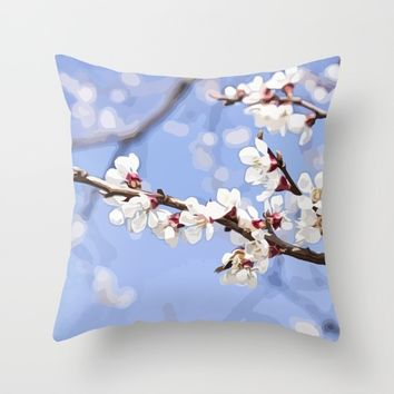 Sakura branch Throw Pillow by Taoteching / C4Dart