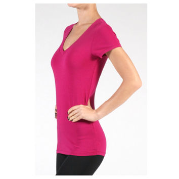 """Always Faithful"" Classic V Neck Short Sleeve Magenta Top"