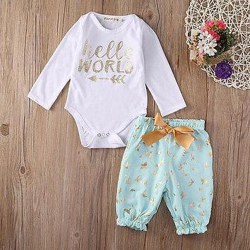 Cute Newborn Baby Girls Little Girl Tops Bodysuits  Long Pants Outfits Set Clothes