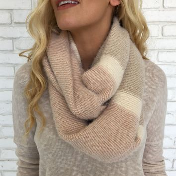 Pink & Beige Infinity Scarf