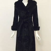 Beautiful Birger Christensen Fox and Persian Lamb Coat With Suede Belt
