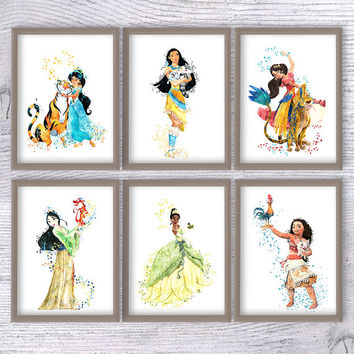 Disney poster Disney print Set of 6 Disney wall decor Girls room decor Disney princess watercolor Kids room wall art Nursery decoration V446