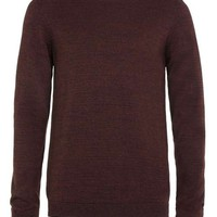 Burgundy and Black Twist Crew Neck Sweater - Men's Cardigans & Sweaters - Clothing