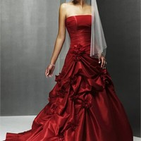 Gorgeous Crimson Strapless Natural Waist Taffeta Ball Gown Wedding Dress WD0373