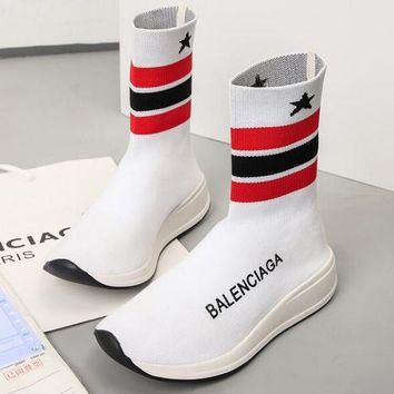 Balenciaga New Popular Woman Boots Breathable Stripe Knitting Sneakers Running Shoes White