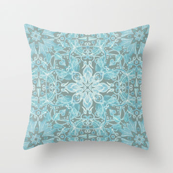 Soft Teal Blue & Grey hand drawn floral pattern Throw Pillow by Micklyn