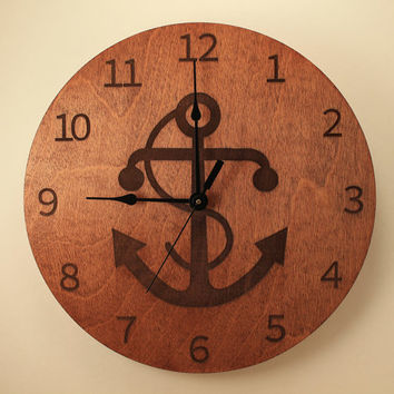 Anchor laser cut clock Wood clock Wall clock Wooden wall clock Home clock Nautical clock Ocean decor Sailor design Beach clock Coastal clock