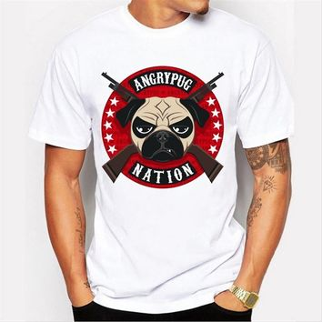 New Arrivals  Men's Summer Fashion ANGRY PUG  NATION Printed T Shirt Cool Tops High Quality Casual Tee