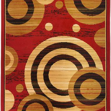 5097 Burgundy Geometric Contemporary Area Rugs