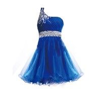 FAIRY COUPLE One Shoulder Short Homecoming Dress Beaded D0422 (US4, Blue)
