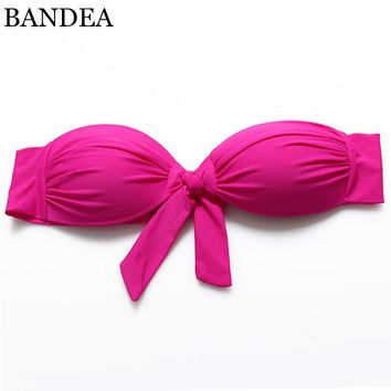 Bikini Top 2016 New Women's Candy Color Bandeau bikini Bow Swimsuit Bathing Suit Biquini Swimwear Strappy Bra