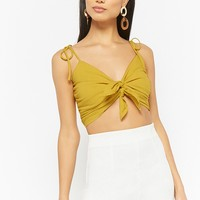 Double Tie-Front Cami Crop Top
