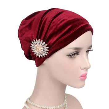 Women Cancer Hats For Women with Beanie Turban Head Wrap Cap Velvet Headwear Bandana headscarf Tichel
