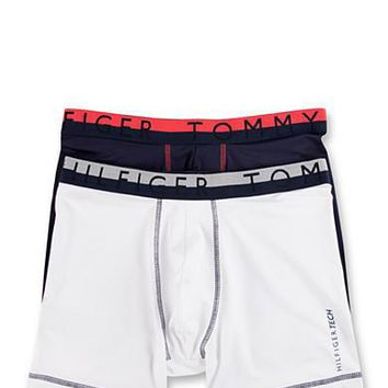 Tommy Hilfiger Tech Active Micro Stretch Boxer Briefs 2 Pack - White & Navy XL/L