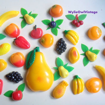 Vintage Set of 30 Fruit and Vegetable Fridge Magnets 1960s