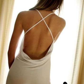 White Lingerie Sleepwear Backless Nightgown by NaughtyNaughty
