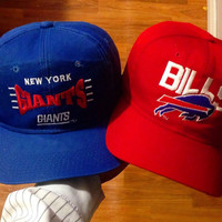 Vintage Buffalo Bills Snapback and New York Giants Snapback Red Blue OS