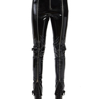 PATENT ZIPPER LEATHER PANTS