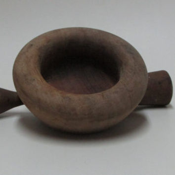 Handmade Wooden Mortar and Pestle, Old Mortar for Grinding Spices, Seeds, Garlic, Rustic Wooden Mortar of the last Century