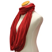 Luxury Divas Red Casual Circle Infinity Scarf