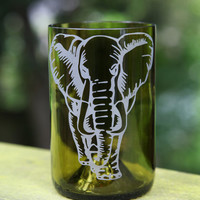 Elephant drinking glass upcycled from wine bottle