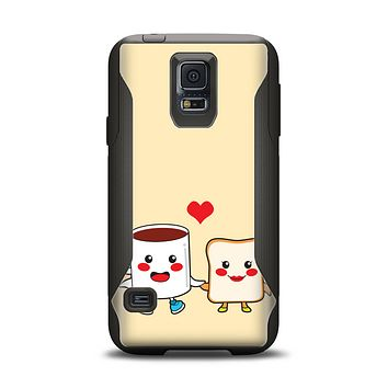 The Cute Toast & Mug Breakfast Couple Samsung Galaxy S5 Otterbox Commuter Case Skin Set