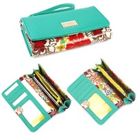 Universal Floral Smartphone Clutch Wallet, Coin Purse, ID Holder with Wristlet (Turquoise) for Apple iPhone / Samsung