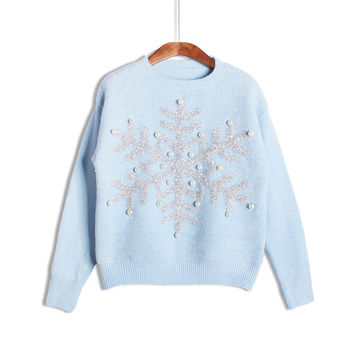 Womens Romantic Snowflake O-Neck Hand Knitted Christmas Sweater Fashion 2016 Autumn Pullovers Elegant Ladies Sweaters Pull Femme