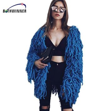 Bothwinner Warm Knitting Shaggy Jacket Coat Women Sweater Soft Black Female Overcoat Autumn Winter Hairy Faux Fur Coat Cardigan