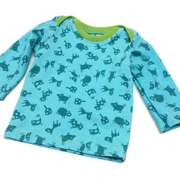 Newborn Baby Boy Shirt and 2-3 months Spring Farm animals European Farbenmix Blue and Green