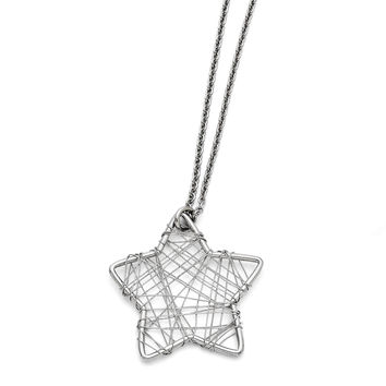 Stainless Steel Wired Star Polished Necklace SRN1421
