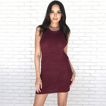 On 5th Avenue Knit Dress in Burgundy