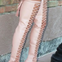 Nelly Yanina Rose Pink Lace Up High Heel Thigh High Boots
