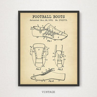 Football Boots Patent Artwork, Indtant Download, Football Poster, Patent Prints, Football Blueprints, Gallery Wall, Football Nursery Decor