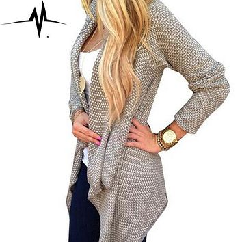 Women coat Long Hoodies 2016 Fashion Autumn Winter Style Long Sleeve Plaid lapel Loose Thick Knitted female Coat