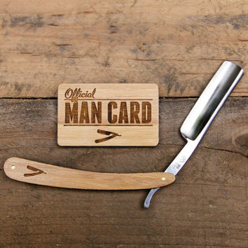 Personalized Handmade Straight Razor with Travel Strop  - Bamboo