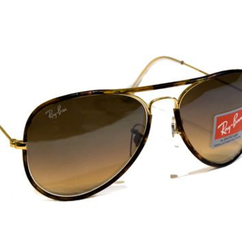 NEW Ray Ban RB 3025 Aviator Metal Tortoise 58MM Light Brown Gradient Lense