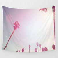 Pinky California Palms Wall Tapestry by SoCal Chic Photography