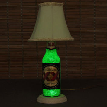 "Dos Equis Beer Bottle Lamp/Light- W/ Shade VIDEO DEMO /11 year LED - Intense Green Glow /""Diamond Like"" Glass Crystals on Inside Surface"