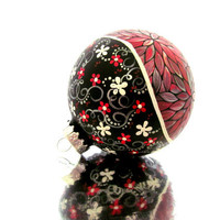 Metallic Red: Hand painted Christmas Ornament Red and Silver