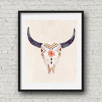 SALE Cow skull, bull head print, boho wall art, bull horns, southwestern art, tribal print, tribal wall art, printable art