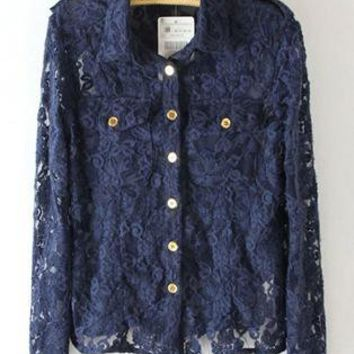 Blue Lace Metal Buttons Shirt S010120